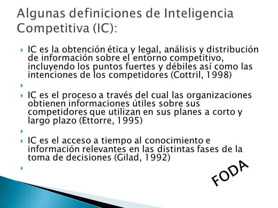 IC es la obtención ética y legal, análisis y distribución de información sobre el entorno competitivo, incluyendo los puntos fuertes y débiles así com