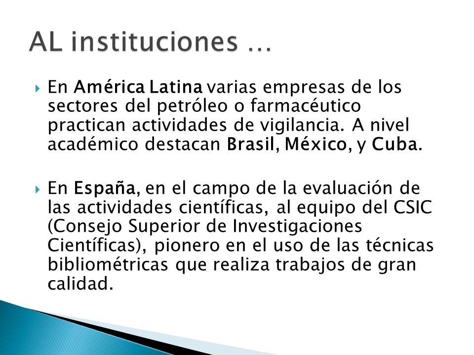 En América Latina varias empresas de los sectores del petróleo o farmacéutico practican actividades de vigilancia. A nivel académico destacan Brasil,