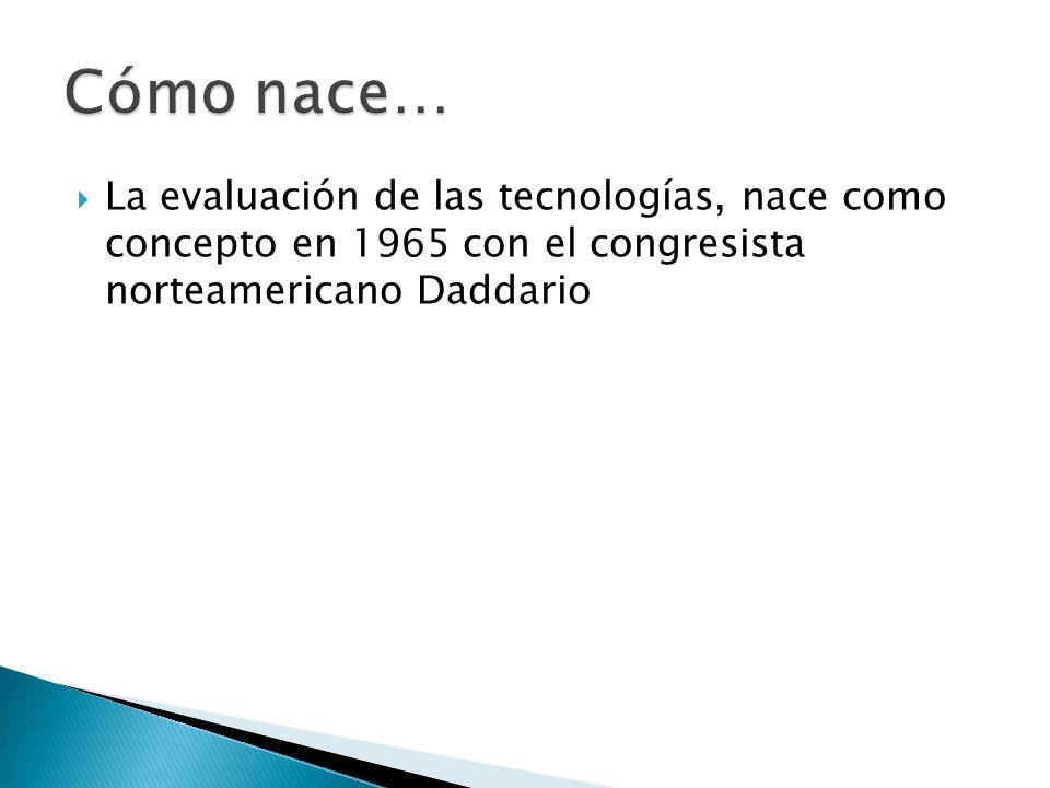 La evaluación de las tecnologías, nace como concepto en 1965 con el congresista norteamericano Daddario
