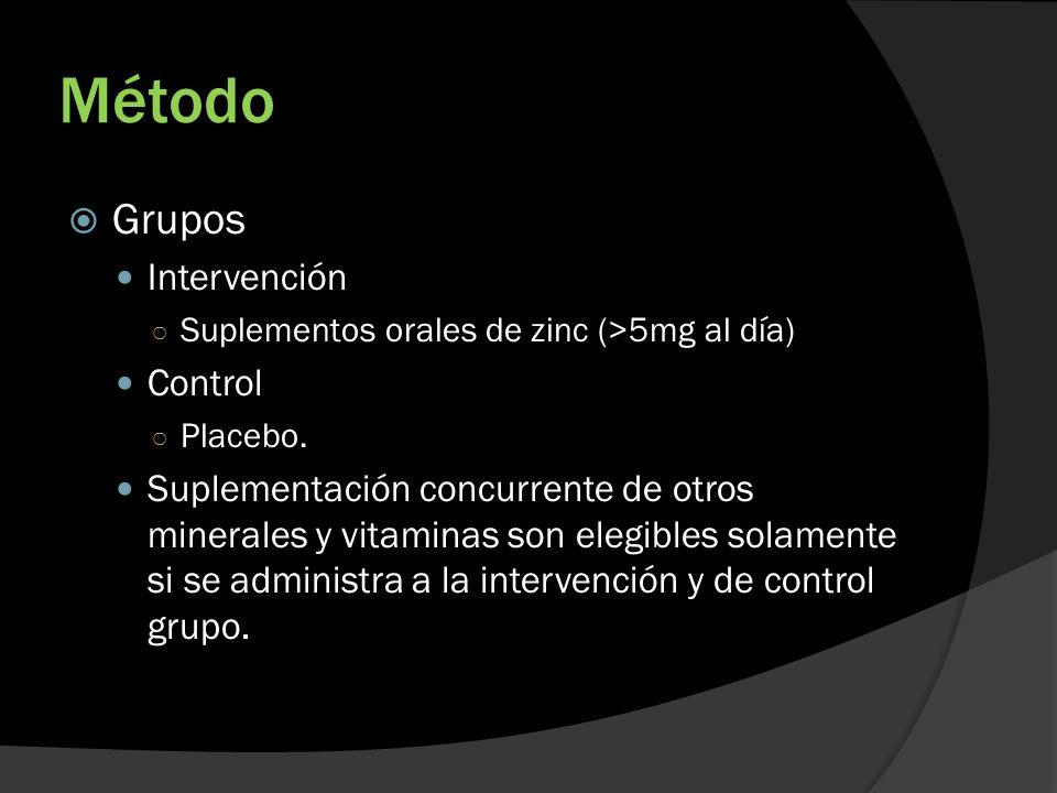 Método Grupos Intervención Suplementos orales de zinc (>5mg al día) Control Placebo. Suplementación concurrente de otros minerales y vitaminas son ele