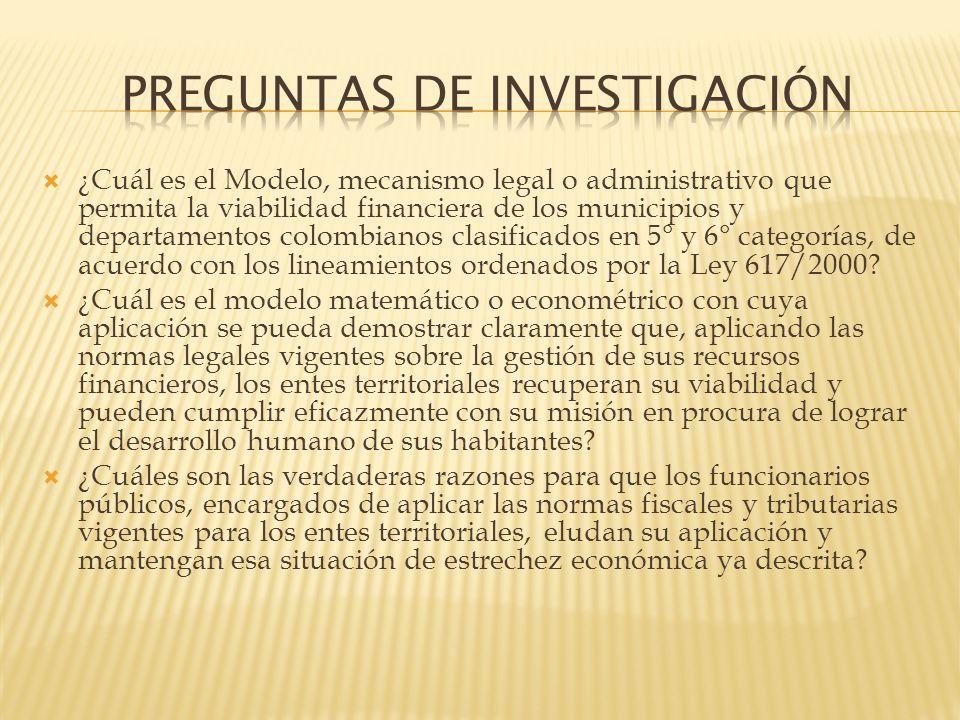 ¿Cuál es el Modelo, mecanismo legal o administrativo que permita la viabilidad financiera de los municipios y departamentos colombianos clasificados e
