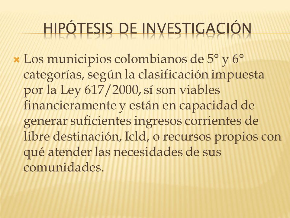 Los municipios colombianos de 5° y 6° categorías, según la clasificación impuesta por la Ley 617/2000, sí son viables financieramente y están en capac
