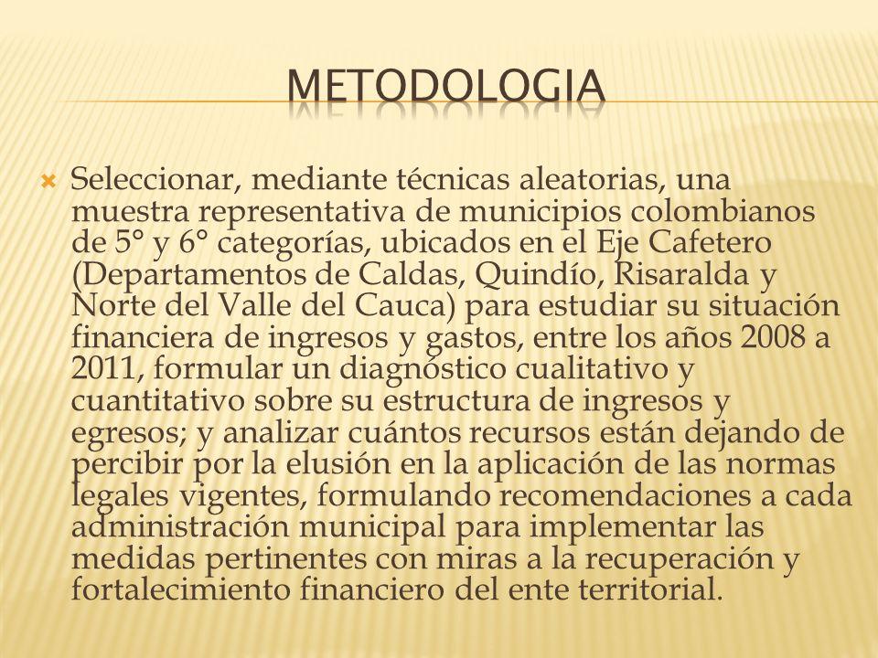 Región geográfica cubierta por el Paisaje Cultural Cafetero, recientemente reconocido por la Unesco como patrimonio cultural de la humanidad (47 municipios de los departamentos de Caldas, Quindío y Risaralda, además del norte del departamento del Valle del Cauca); seleccionando mediante muestreo aleatorio simple un grupo de municipios de 5° y 6° categorías,
