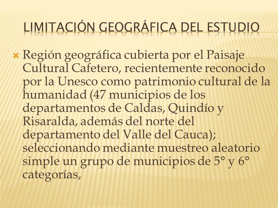 Región geográfica cubierta por el Paisaje Cultural Cafetero, recientemente reconocido por la Unesco como patrimonio cultural de la humanidad (47 munic