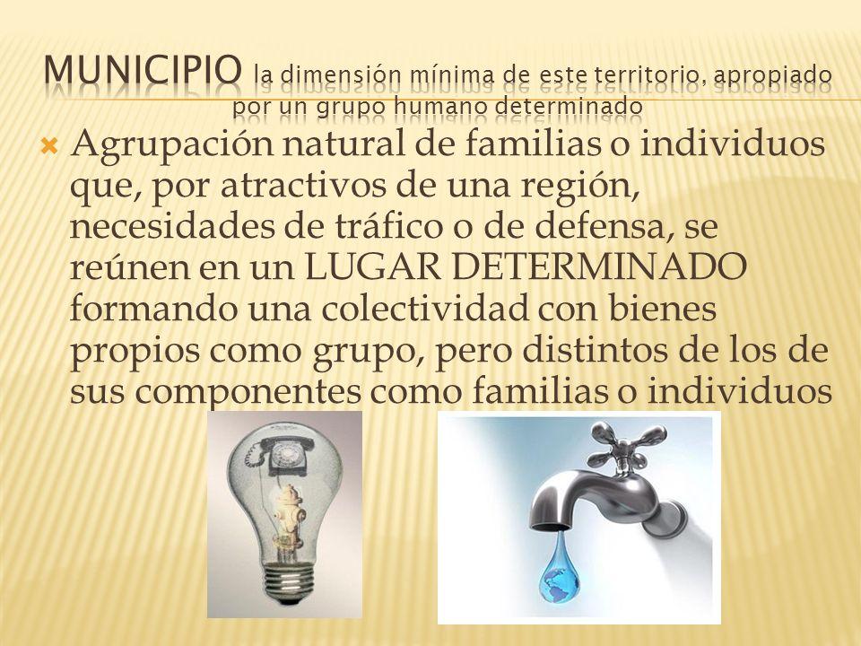 Agrupación natural de familias o individuos que, por atractivos de una región, necesidades de tráfico o de defensa, se reúnen en un LUGAR DETERMINADO