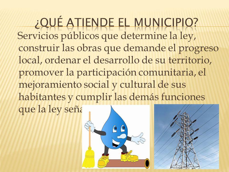 Servicios públicos que determine la ley, construir las obras que demande el progreso local, ordenar el desarrollo de su territorio, promover la partic