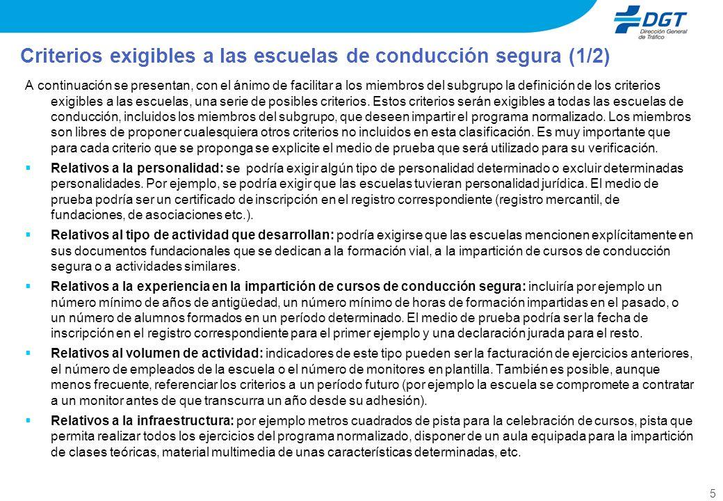 5 A continuación se presentan, con el ánimo de facilitar a los miembros del subgrupo la definición de los criterios exigibles a las escuelas, una serie de posibles criterios.