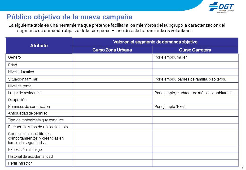 7 La siguiente tabla es una herramienta que pretende facilitar a los miembros del subgrupo la caracterización del segmento de demanda objetivo de la campaña.