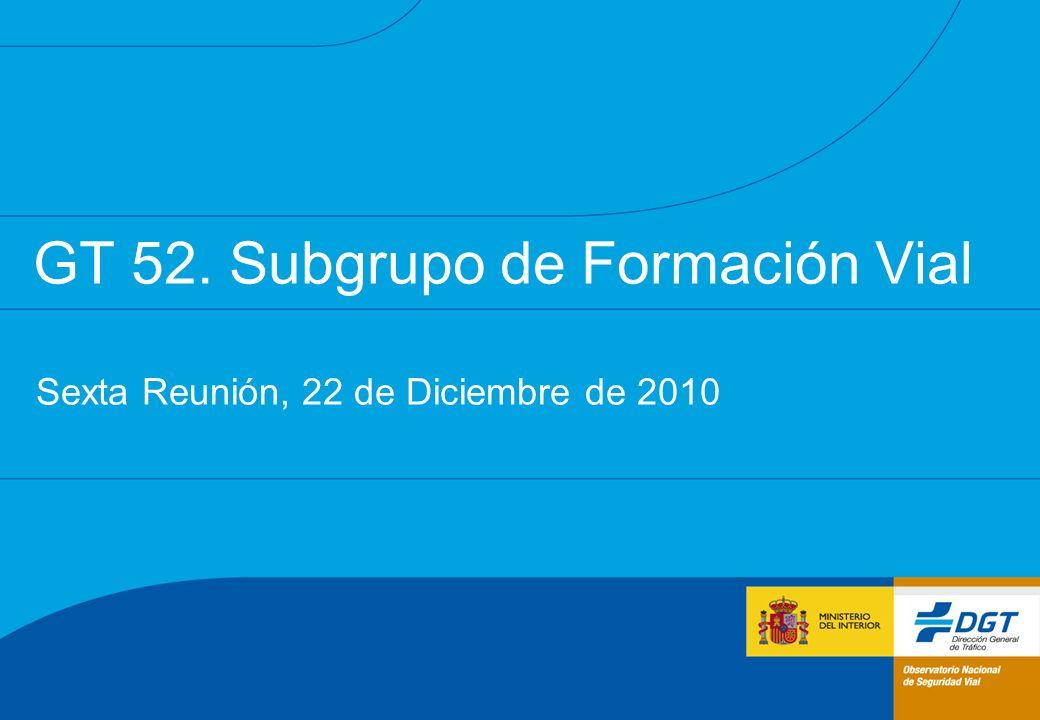 GT 52. Subgrupo de Formación Vial Sexta Reunión, 22 de Diciembre de 2010