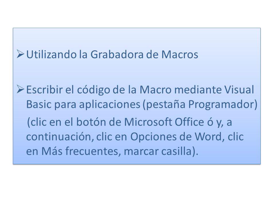 Utilizando la Grabadora de Macros Escribir el código de la Macro mediante Visual Basic para aplicaciones (pestaña Programador) (clic en el botón de Mi