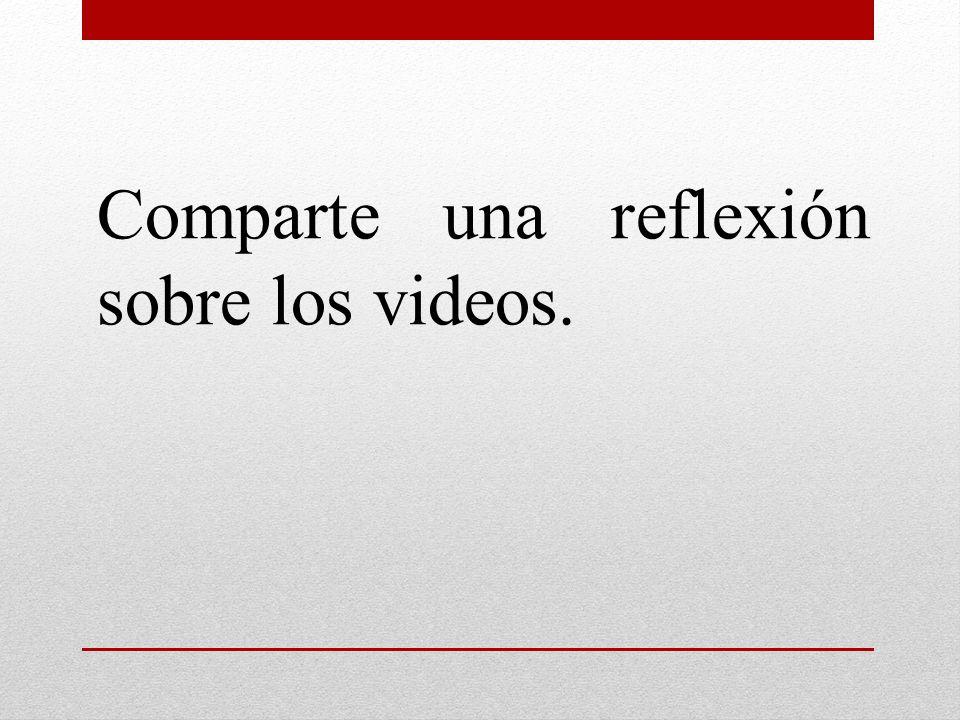 Comparte una reflexión sobre los videos.