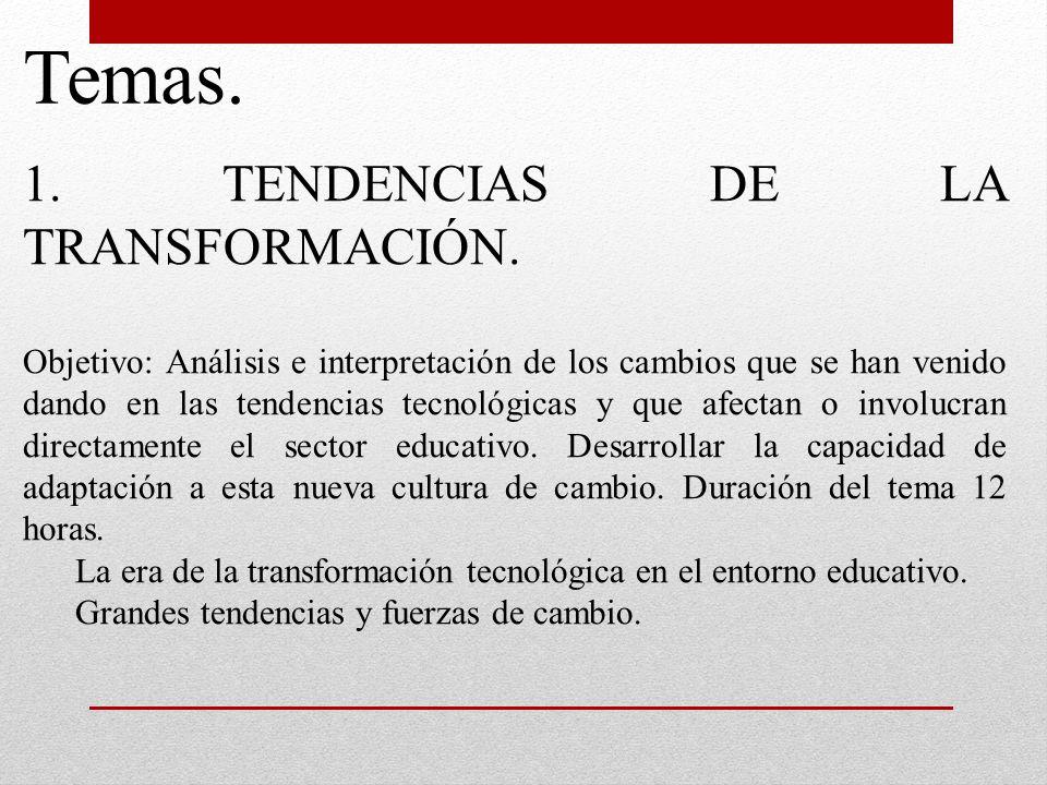 Temas. 1. TENDENCIAS DE LA TRANSFORMACIÓN. Objetivo: Análisis e interpretación de los cambios que se han venido dando en las tendencias tecnológicas y