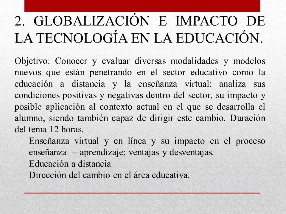 2. GLOBALIZACIÓN E IMPACTO DE LA TECNOLOGÍA EN LA EDUCACIÓN. Objetivo: Conocer y evaluar diversas modalidades y modelos nuevos que están penetrando en