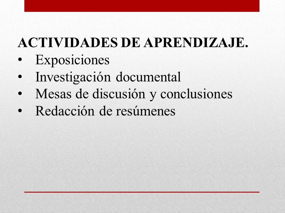 ACTIVIDADES DE APRENDIZAJE. Exposiciones Investigación documental Mesas de discusión y conclusiones Redacción de resúmenes