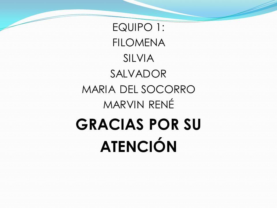 EQUIPO 1: FILOMENA SILVIA SALVADOR MARIA DEL SOCORRO MARVIN RENÉ GRACIAS POR SU ATENCIÓN