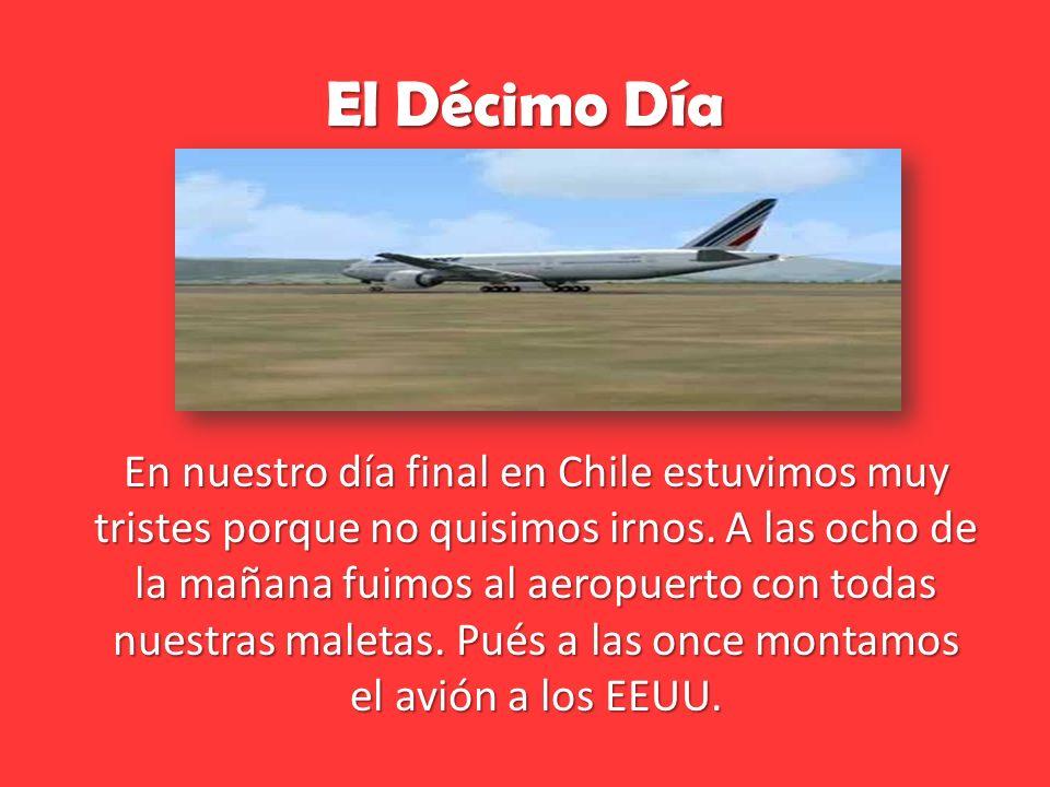 El Décimo Día En nuestro día final en Chile estuvimos muy tristes porque no quisimos irnos.