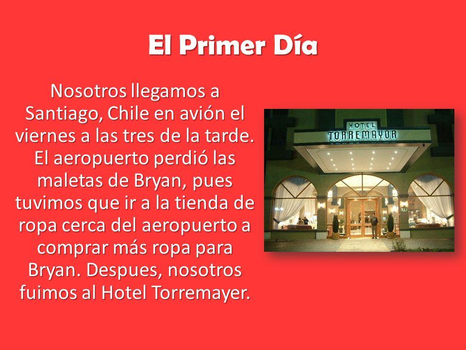 El Primer Día Nosotros llegamos a Santiago, Chile en avión el viernes a las tres de la tarde.