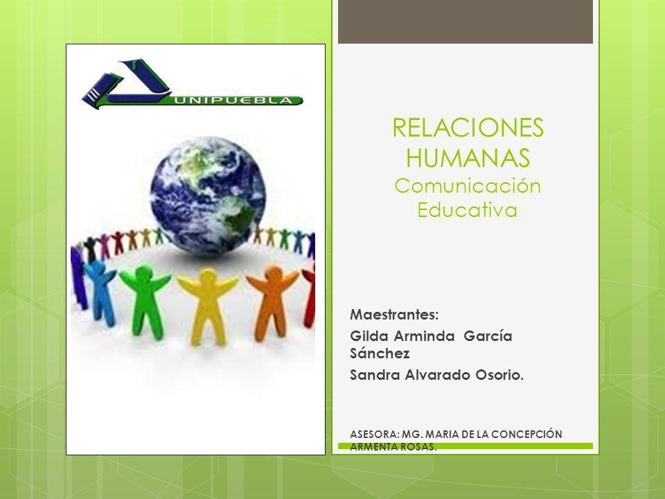 RELACIONES HUMANAS Comunicación Educativa Maestrantes: Gilda Arminda García Sánchez Sandra Alvarado Osorio. ASESORA: MG. MARIA DE LA CONCEPCIÓN ARMENT