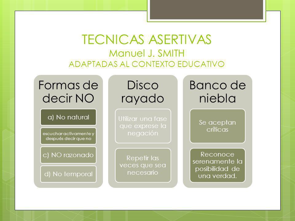 TECNICAS ASERTIVAS Manuel J. SMITH ADAPTADAS AL CONTEXTO EDUCATIVO Formas de decir NO a) No natural escuchar activamente y después decir que no c) NO