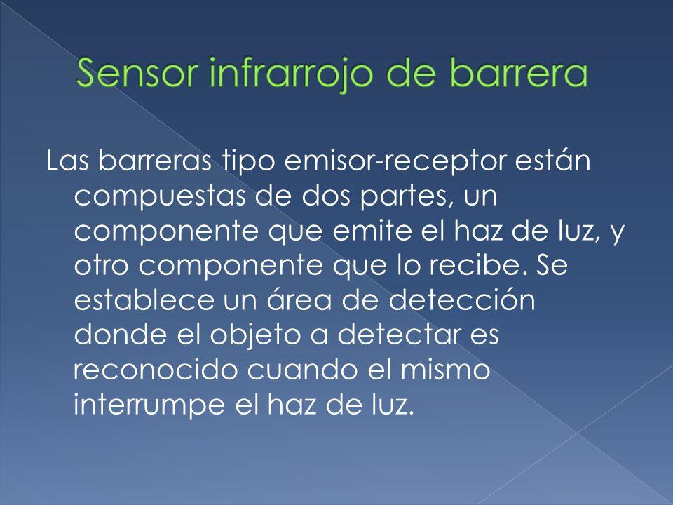 Las barreras tipo emisor-receptor están compuestas de dos partes, un componente que emite el haz de luz, y otro componente que lo recibe. Se establece