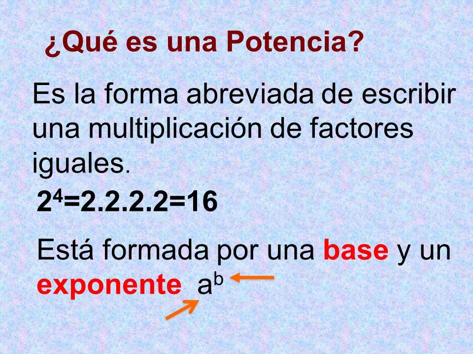¿Qué es una Potencia.Es la forma abreviada de escribir una multiplicación de factores iguales.