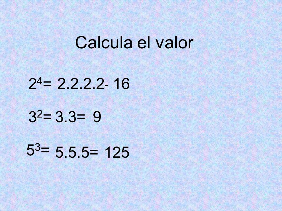 Resuelve usando las propiedades de las potencias, después halla el valor 2 3.2 4: 2 5 = 3 4 :3 4 = (2 3 ) 4 = 3 4 :3 3.3 2 = 3 6 :3 3 :3 3 = 2 7 :2 5 =2 2 = 4 3030 =1 2 12 = 3.3 2 =27 3 3 :3 3 =3 0 =1 =3 3