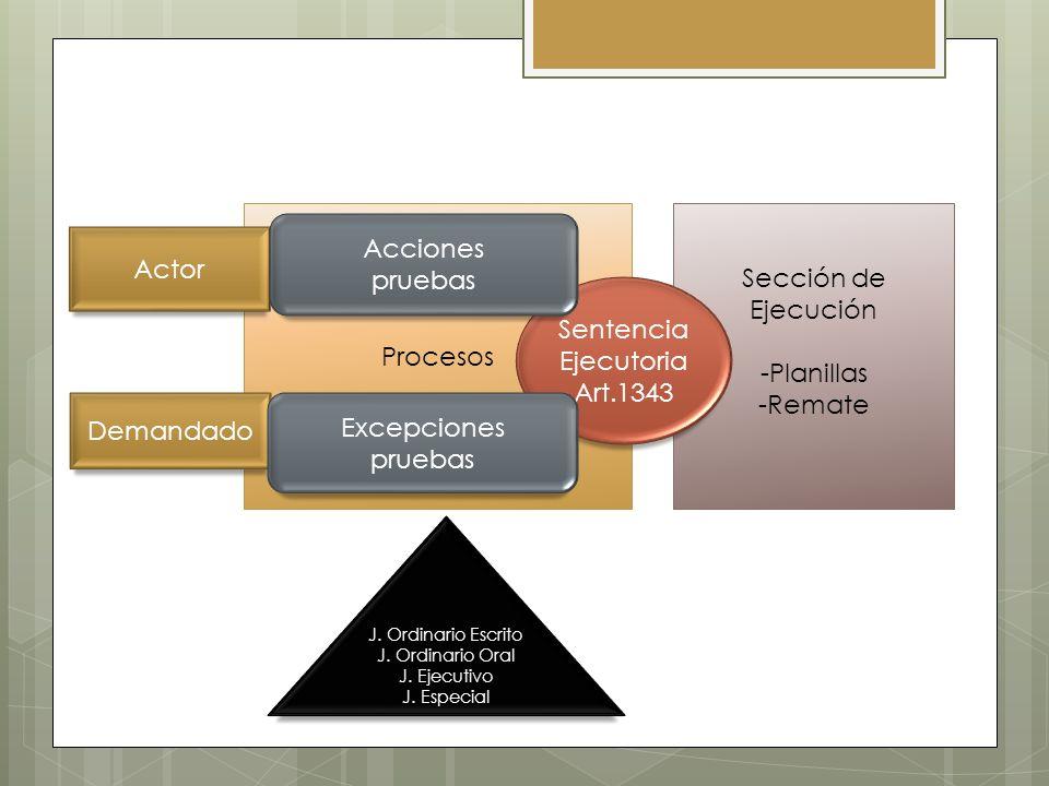 Sección de Ejecución -Planillas -Remate Procesos Sentencia Ejecutoria Art.1343 Actor Demandado Acciones pruebas Excepciones pruebas J. Ordinario Escri
