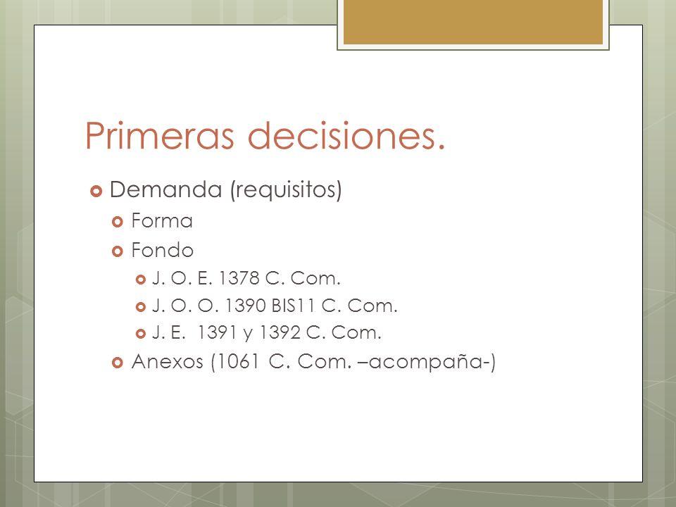 Primeras decisiones. Demanda (requisitos) Forma Fondo J. O. E. 1378 C. Com. J. O. O. 1390 BIS11 C. Com. J. E. 1391 y 1392 C. Com. Anexos (1061 C. Com.
