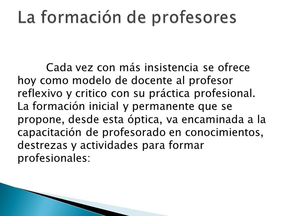 Cada vez con más insistencia se ofrece hoy como modelo de docente al profesor reflexivo y critico con su práctica profesional.