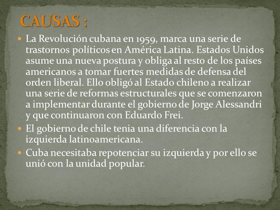 La Revolución cubana en 1959, marca una serie de trastornos políticos en América Latina. Estados Unidos asume una nueva postura y obliga al resto de l