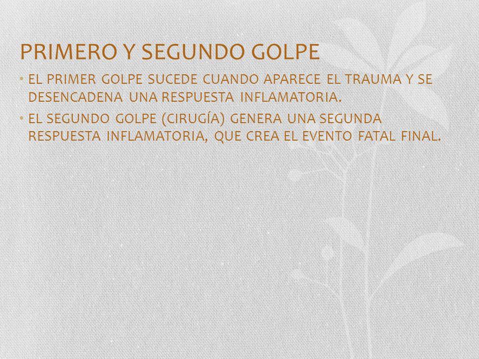 PRIMERO Y SEGUNDO GOLPE EL PRIMER GOLPE SUCEDE CUANDO APARECE EL TRAUMA Y SE DESENCADENA UNA RESPUESTA INFLAMATORIA. EL SEGUNDO GOLPE (CIRUGÍA) GENERA