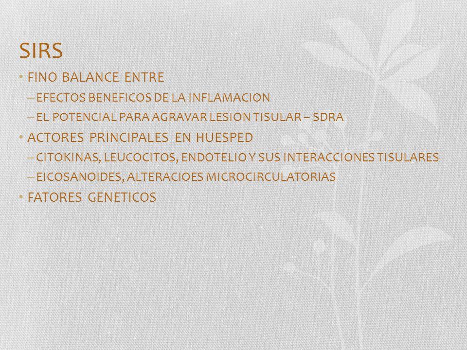 SIRS FINO BALANCE ENTRE – EFECTOS BENEFICOS DE LA INFLAMACION – EL POTENCIAL PARA AGRAVAR LESION TISULAR – SDRA ACTORES PRINCIPALES EN HUESPED – CITOK