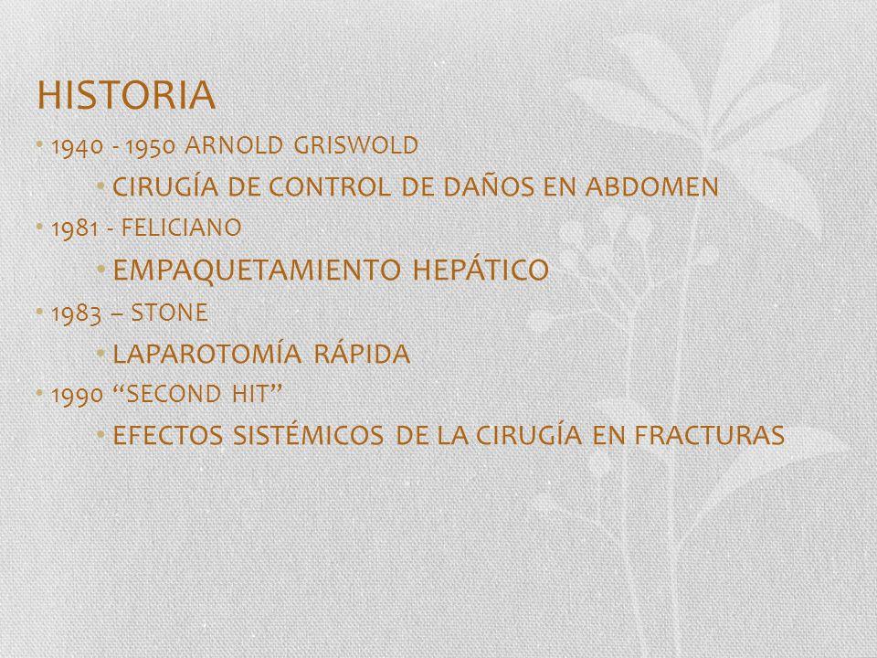 HISTORIA 1940 - 1950 ARNOLD GRISWOLD CIRUGÍA DE CONTROL DE DAÑOS EN ABDOMEN 1981 - FELICIANO EMPAQUETAMIENTO HEPÁTICO 1983 – STONE LAPAROTOMÍA RÁPIDA