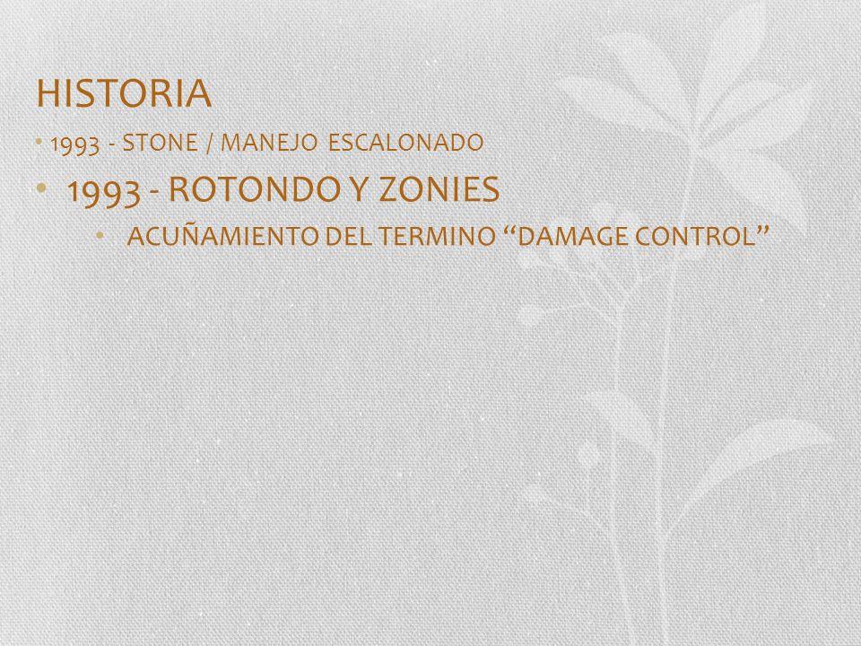 HISTORIA 1993 - STONE / MANEJO ESCALONADO 1993 - ROTONDO Y ZONIES ACUÑAMIENTO DEL TERMINO DAMAGE CONTROL
