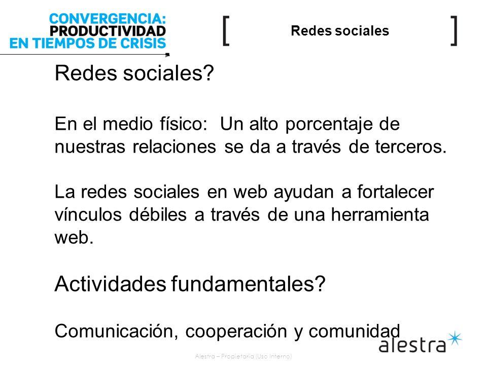 Alestra – Propietaria (Uso Interno) Redes sociales Redes sociales.