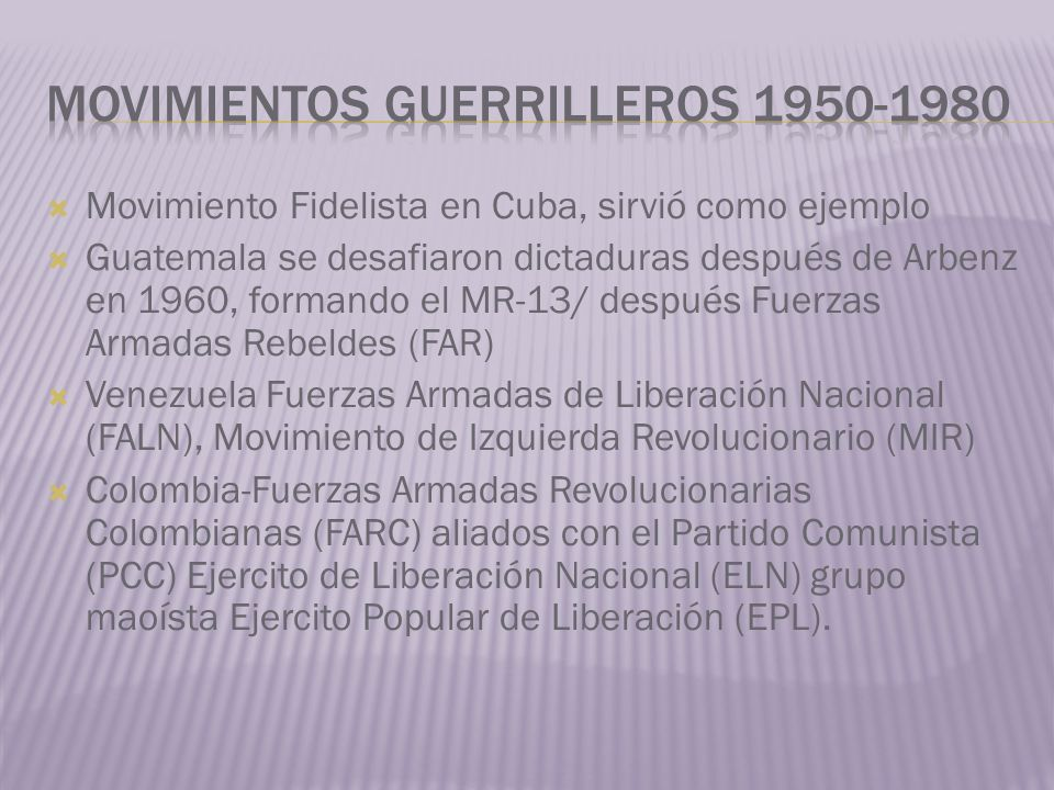 Movimiento Fidelista en Cuba, sirvió como ejemplo Guatemala se desafiaron dictaduras después de Arbenz en 1960, formando el MR-13/ después Fuerzas Arm