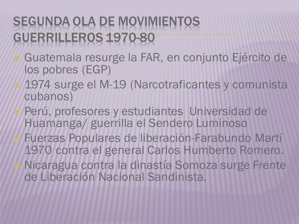 Guatemala resurge la FAR, en conjunto Ejército de los pobres (EGP) 1974 surge el M-19 (Narcotraficantes y comunista cubanos) Perú, profesores y estudi