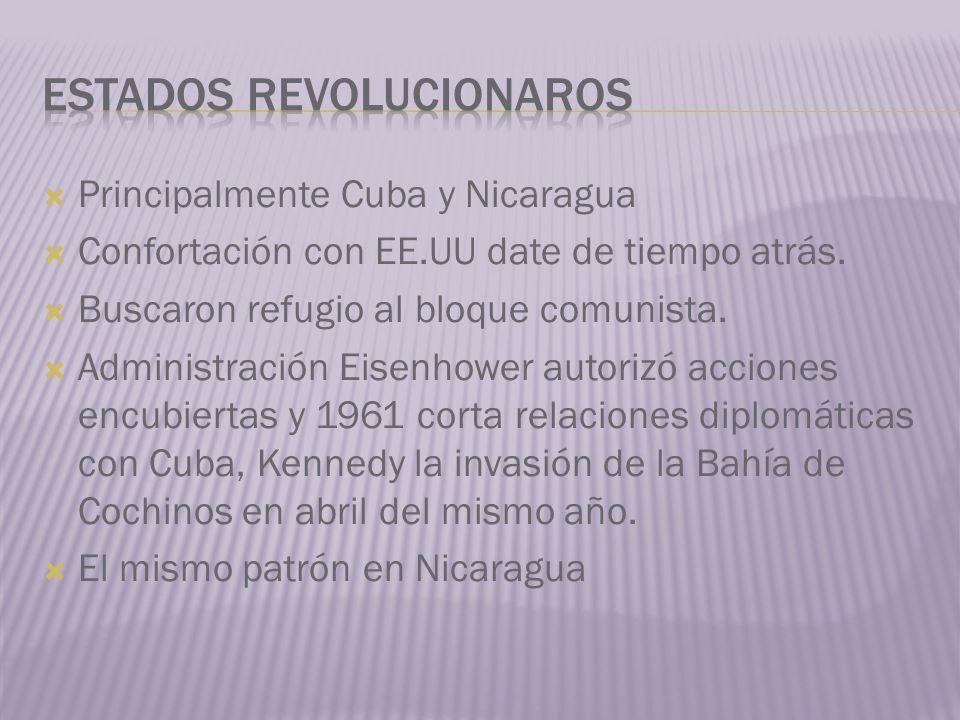 Principalmente Cuba y Nicaragua Confortación con EE.UU date de tiempo atrás. Buscaron refugio al bloque comunista. Administración Eisenhower autorizó