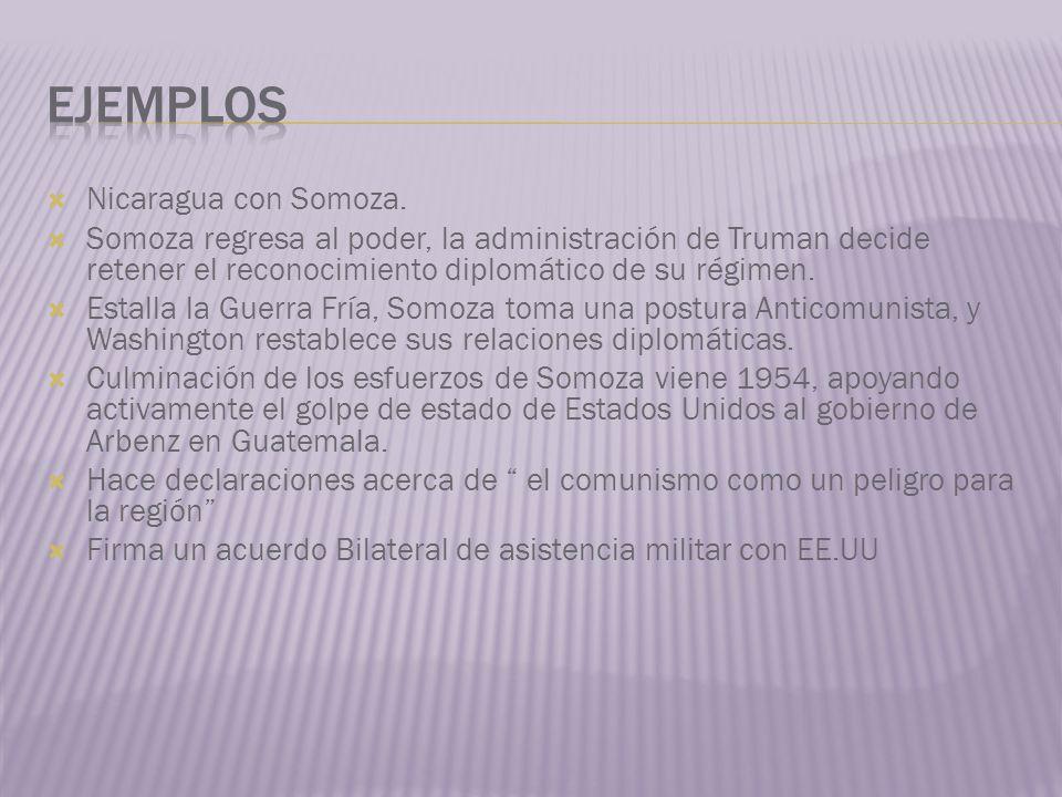Nicaragua con Somoza. Somoza regresa al poder, la administración de Truman decide retener el reconocimiento diplomático de su régimen. Estalla la Guer