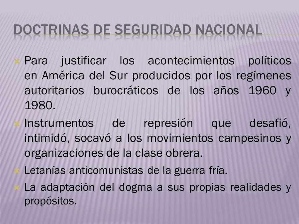 Para justificar los acontecimientos políticos en América del Sur producidos por los regímenes autoritarios burocráticos de los años 1960 y 1980. Instr