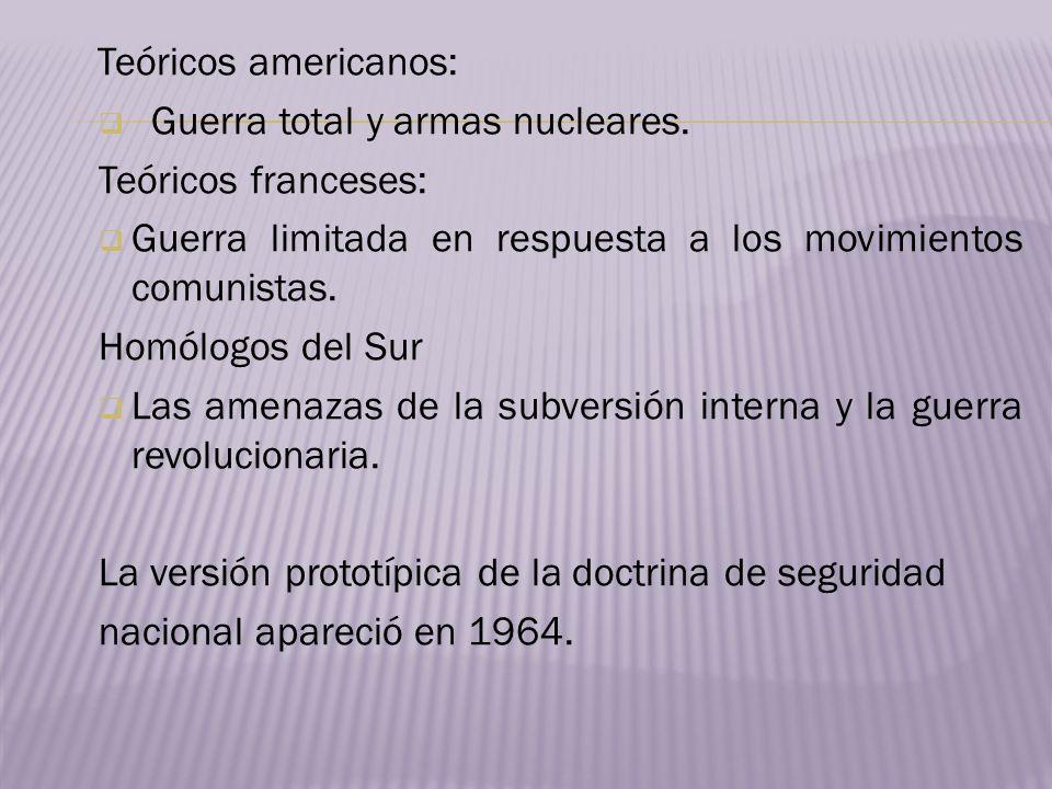 Teóricos americanos: Guerra total y armas nucleares. Teóricos franceses: Guerra limitada en respuesta a los movimientos comunistas. Homólogos del Sur