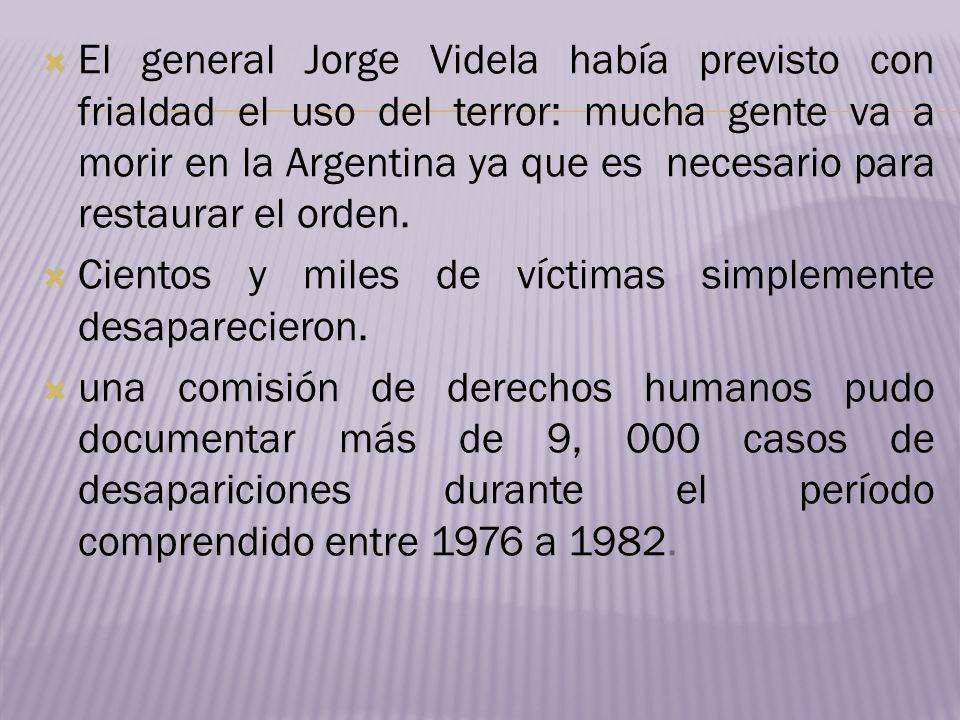 El general Jorge Videla había previsto con frialdad el uso del terror: mucha gente va a morir en la Argentina ya que es necesario para restaurar el or