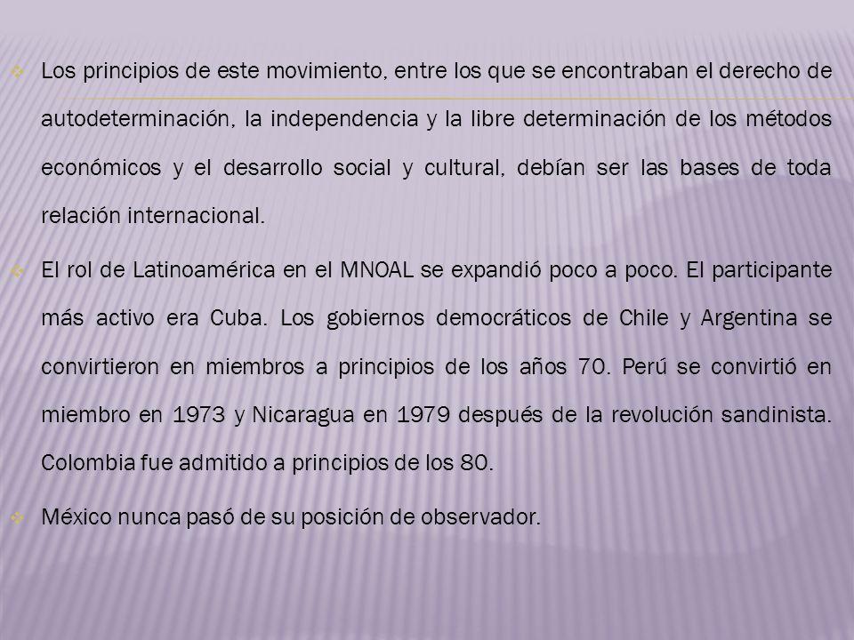 Los principios de este movimiento, entre los que se encontraban el derecho de autodeterminación, la independencia y la libre determinación de los méto