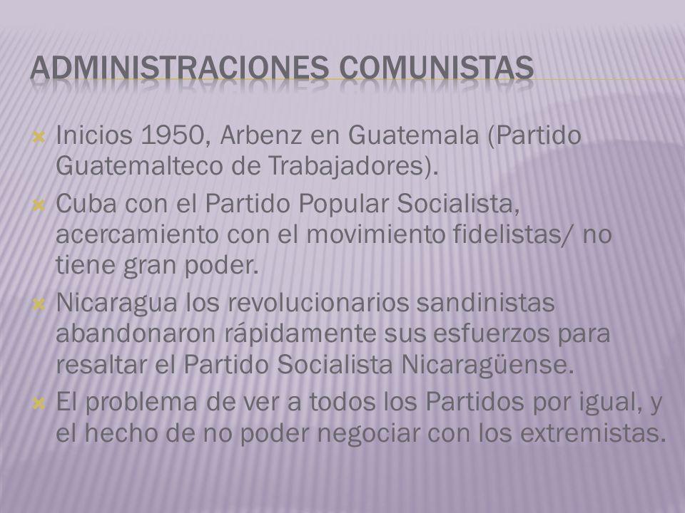 Inicios 1950, Arbenz en Guatemala (Partido Guatemalteco de Trabajadores). Cuba con el Partido Popular Socialista, acercamiento con el movimiento fidel