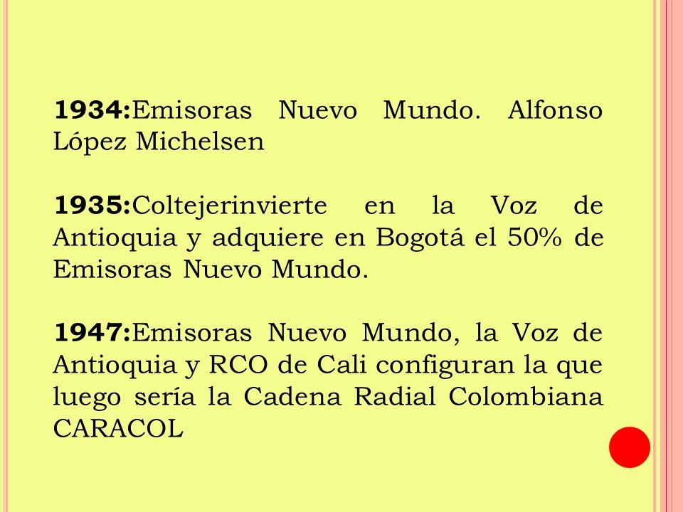 1949: Se crea Radio Cadena Nacional RCN por otros empresarios que querían competir con CARACOL.