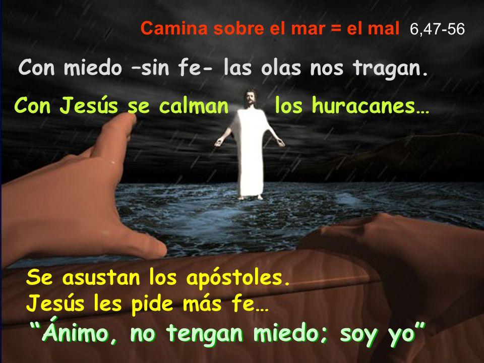 Ánimo, no tengan miedo; soy yo Camina sobre el mar = el mal 6,47-56 Con miedo –sin fe- las olas nos tragan. Con Jesús se calman los huracanes… Se asus