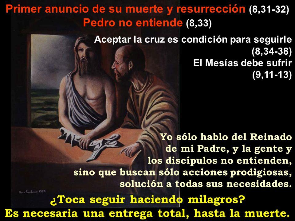 Primer anuncio de su muerte y resurrección (8,31-32) Pedro no entiende (8,33) ¿Toca seguir haciendo milagros? Es necesaria una entrega total, hasta la