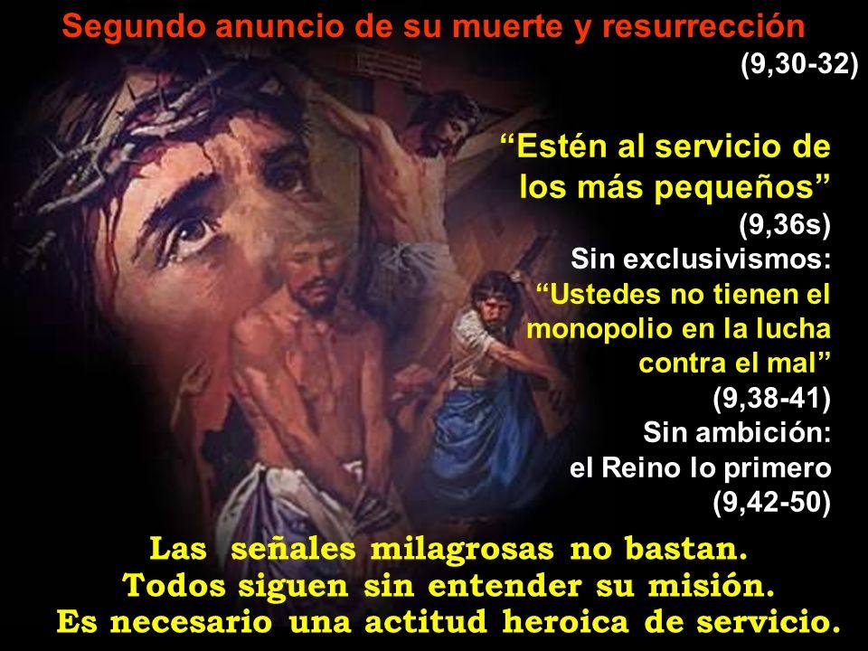Segundo anuncio de su muerte y resurrección (9,30-32) Las señales milagrosas no bastan. Todos siguen sin entender su misión. Es necesario una actitud