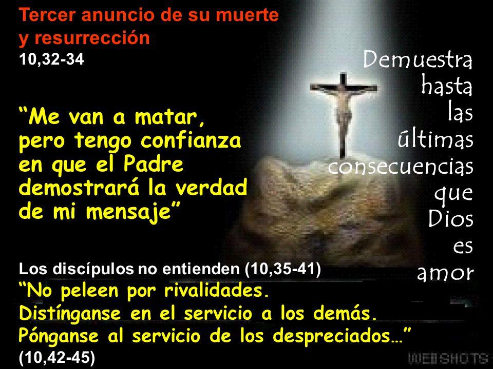 Me van a matar, pero tengo confianza en que el Padre demostrará la verdad de mi mensaje Los discípulos no entienden (10,35-41) No peleen por rivalidad