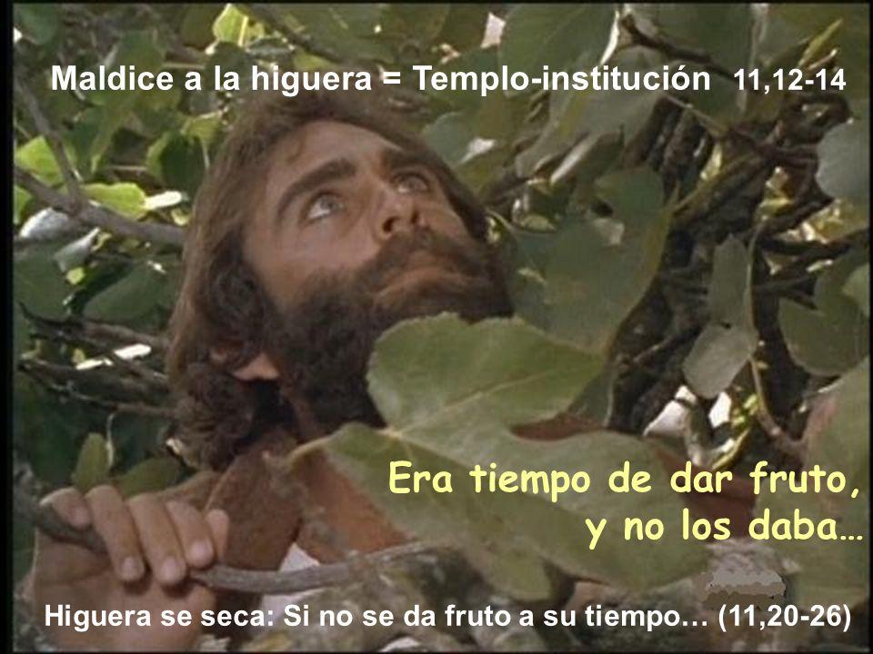 Era tiempo de dar fruto, y no los daba… Higuera se seca: Si no se da fruto a su tiempo… (11,20-26) Maldice a la higuera = Templo-institución 11,12-14